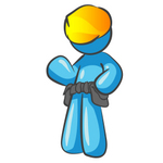 Clip Art Graphic of a Sky Blue Guy Character Wearing a Toolbelt and Waving