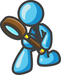 Clip Art Graphic of a Sky Blue Guy Character Kneeling and Using a Magnifying Glass