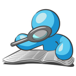Clip Art Graphic of a Sky Blue Guy Character Reading With a Magnifying Glass
