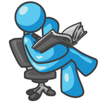 Clip Art Graphic of a Sky Blue Guy Character Reading in a Chair