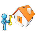 Clip Art Graphic of a Sky Blue Guy Character With a Key to a Home
