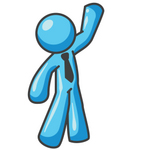Clip Art Graphic of a Sky Blue Guy Character Waving