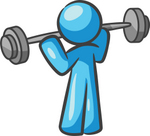 Clip Art Graphic of a Sky Blue Guy Character Lifting a Barbell