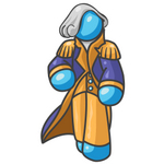 Clip Art Graphic of a Sky Blue Guy Character as George Washington