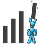 Clip Art Graphic of Sky Blue Guy Characters Holding up Part of a Bar Graph