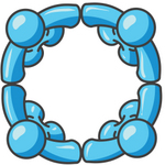 Clip Art Graphic of Sky Blue Guy Characters in a Circle, Holding Hands