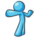 Clip Art Graphic of a Sky Blue Guy Character Stretching
