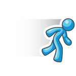 Clip Art Graphic of a Sky Blue Guy Character Running