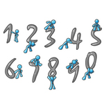 Clip Art Graphic of a Sky Blue Guy Character With Numbers