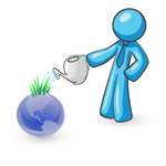 Clip Art Graphic of a Sky Blue Guy Character Watering a Globe