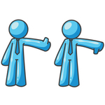 Clip Art Graphic of a Sky Blue Guy Character Giving Thumbs up and Down
