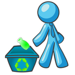 Clip Art Graphic of a Sky Blue Guy Character Tossing a Bottle Into a Recycling Bin
