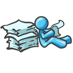 Clip Art Graphic of a Sky Blue Guy Character Reading Papers