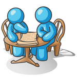 Clip Art Graphic of Sky Blue Guy Characters Reading at a Table