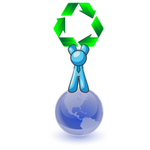 Clip Art Graphic of a Sky Blue Guy Character With Recycle Arrows on a Globe
