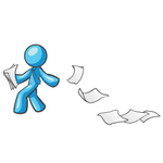 Clip Art Graphic of a Sky Blue Guy Character Dropping Papers