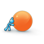 Clip Art Graphic of a Sky Blue Guy Character Pushing an Orange Orb