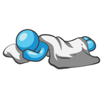 Clip Art Graphic of a Sky Blue Guy Character Sleeping on a Pillow With a Blanket