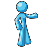 Clip Art Graphic of a Sky Blue Lady Character Pointing