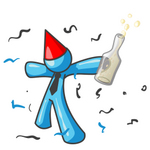 Clip Art Graphic of a Sky Blue Guy Character Partying With Liquor