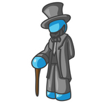 Clip Art Graphic of a Sky Blue Guy Character as Abraham Lincoln