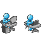 Clip Art Graphic of Sky Blue Guy Characters Working on Computers