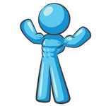 Clip Art Graphic of a Sky Blue Guy Character Flexing His Muscles