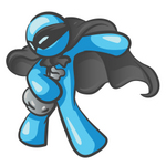 Clip Art Graphic of a Sky Blue Guy Character Thief