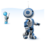 Clip Art Graphic of a Sky Blue Guy Character Operating a Robot