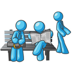 Clip Art Graphic of Sky Blue Guy Characters at a Bus Stop