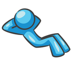 Clip Art Graphic of a Sky Blue Guy Character Doing Situps