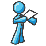 Clip Art Graphic of a Sky Blue Guy Character Giving a Speech