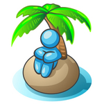 Clip Art Graphic of a Sky Blue Guy Character on an Island