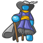 Clip Art Graphic of a Sky Blue Guy Character Pirate