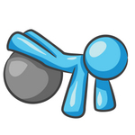 Clip Art Graphic of a Sky Blue Guy Character With a Yoga Ball