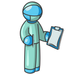 Clip Art Graphic of a Sky Blue Guy Character Surgeon
