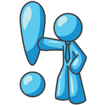 Clip Art Graphic of a Sky Blue Guy Character With an Exclamation Point