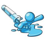Clip Art Graphic of a Sky Blue Guy Character Spilling Out of a Test Tube