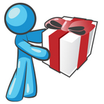 Clip Art Graphic of a Sky Blue Guy Character Holding a Gift