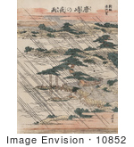 #10852 Photo Of Pouring Rain Over Lake Biwa And Karasaki Pine Japan