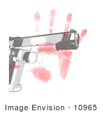 #10965 Picture Of A Handprint And Gun