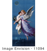 #11094 Picture Of A Guardian Angel Flying With Child