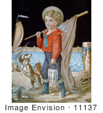 #11137 Picture Of A Boy And Dog Fishing