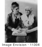 #11304 Picture Of A Woman Learning To Read Braille