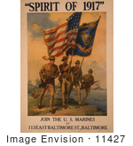#11427 Picture Of Soldiers With Flags Spirit Of 1917