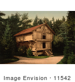 #11542 Picture Of A Building In Forest Stabur Bygdo Norway