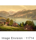 #11714 Picture Of Homes Church Lake Thun And Mountains Switzerland