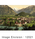 #12021 Picture Of Aare River Interlaken And Jungfrau In Switzerland
