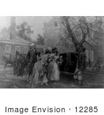 #12285 Picture Of Benjamin Franklin Seated In A Sedan Chair Speaking With 3 Women And A Man With Two American Indians In The Background