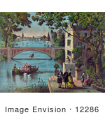 #12286 Picture Of Benjamin Franklin And People By River